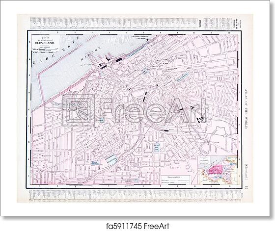 Free art print of Color Street City Map of Cleveland, Ohio, OH, USA Cleveland Oh Map on