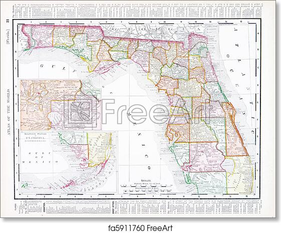 Antique Map Of Florida.Free Art Print Of Antique Map Of Florida Fl United States Usa