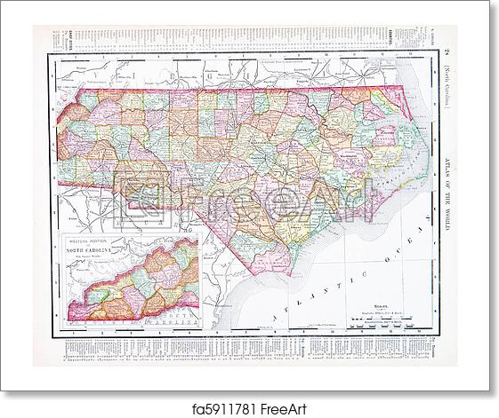 Free art print of Antique Map North Carolina, NC, United States, USA