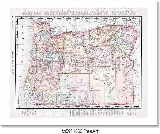 Free art print of Antique Vintage Color Map of Oregon, USA. Vintage ...