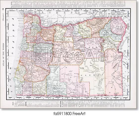 Vintage Oregon Map.Free Art Print Of Antique Vintage Color Map Of Oregon Usa Vintage
