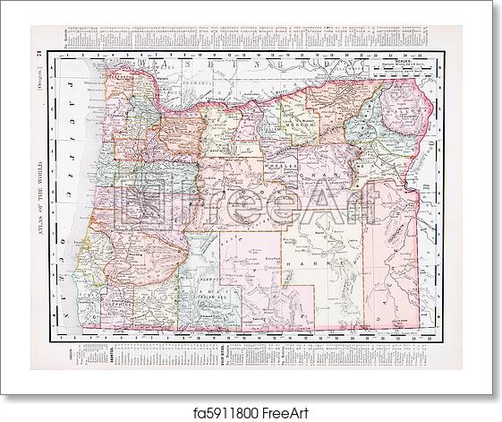 Free art print of Antique Vintage Color Map of Oregon, USA. Vintage ...