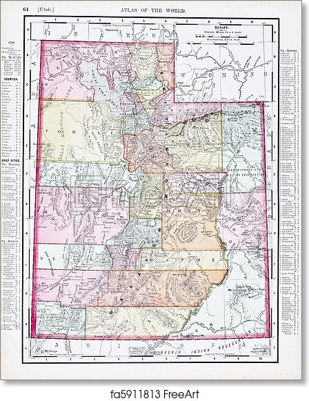 image about Printable Map of Utah called No cost artwork print of Antique Traditional Shade Map of Utah, United states of america
