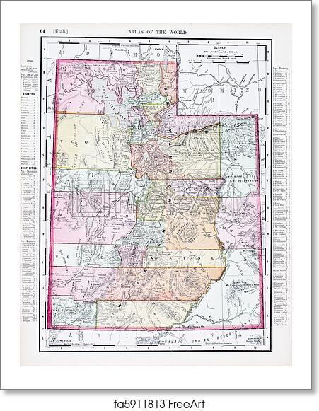 Utah In Usa Map.Free Art Print Of Antique Vintage Color Map Of Utah Usa Vintage