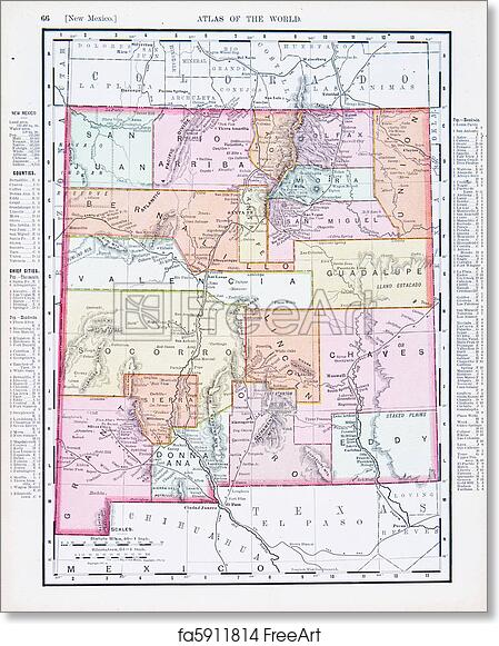 Free art print of Antique Vintage Color Map of New Mexico USA