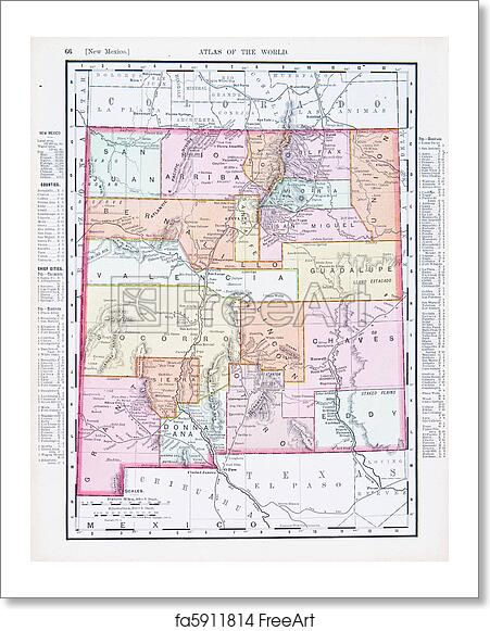 Free art print of Antique Vintage Color Map of New Mexico, USA. Map ...