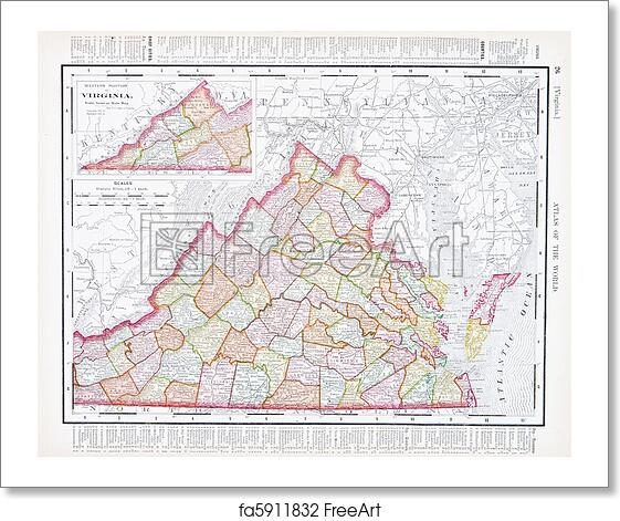 Free Art Print Of Antique Color Map Virginia Va United States Usa - Virginia-on-the-us-map
