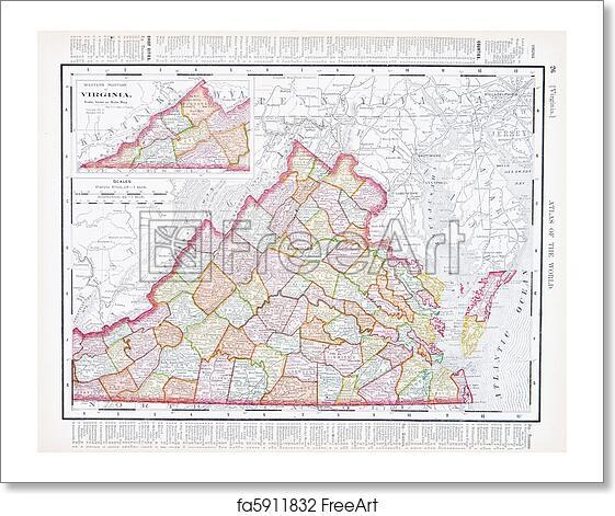 Free art print of Antique Color Map Virginia, VA, United States, USA ...