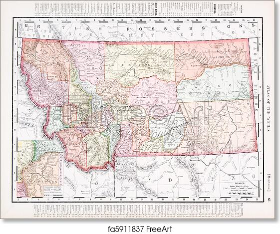 graphic regarding Printable Map of Montana titled Absolutely free artwork print of Antique Traditional Shade Map of Montana United Says