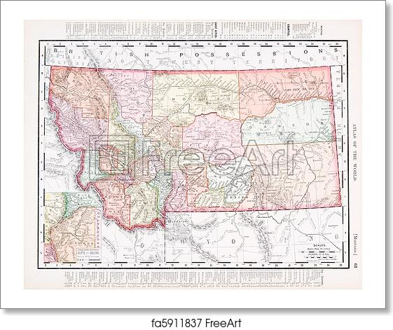 Free Art Print Of Antique Vintage Color Map Of Montana United - Montana us map