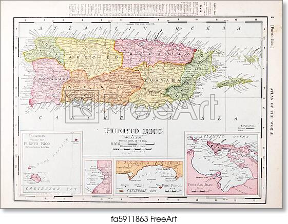 graphic relating to Printable Maps of Puerto Rico named Free of charge artwork print of Antique Traditional Coloration Map of Puerto Rico