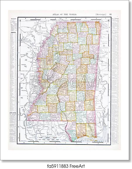 Free Art Print Of Antique Map Of Mississippi Ms United States Usa - Us-map-ms