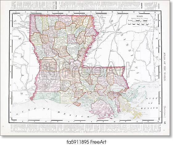 Free Art Print Of Antique Color Map Of Louisiana United States Usa