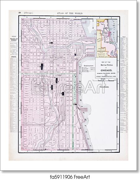 Free art print of Color Street City Map of Chicago, Illinois, IL USA ...