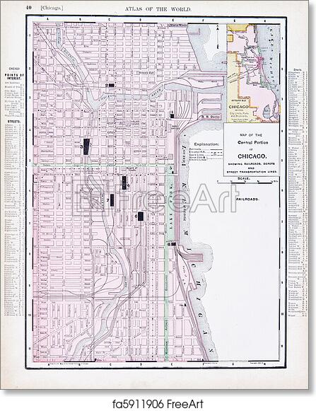 Chicago Map Streets.Free Art Print Of Color Street City Map Of Chicago Illinois Il Usa