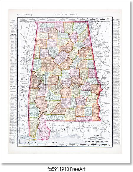 Free art print of Antique Map of Alabama, AL, United States, USA ...