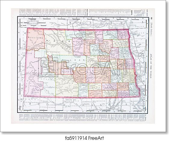 Free art print of Antique Vintage Color Map of North Dakota, USA