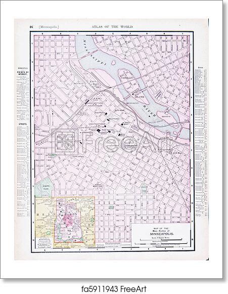 Free art print of Antique Street City Map Minneapolis, Minnesota MN ...