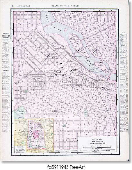 photo relating to Printable Map of Minnesota named Totally free artwork print of Antique Road Metropolis Map Minneapolis, Minnesota MN