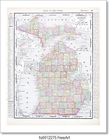 Free Art Print Of Antique Map Of Michigan Mi United States Usa