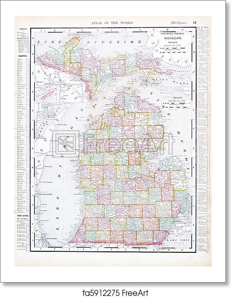 Free art print of Antique Map of Michigan, MI, United States, USA