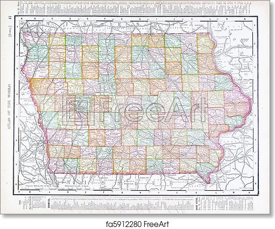 photo regarding Printable Map of Iowa identify Absolutely free artwork print of Antique Classic Colour Map of Iowa, United states of america