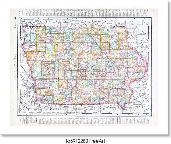 Free Art Print Of Antique Vintage Color Map Of Iowa Usa Vintage
