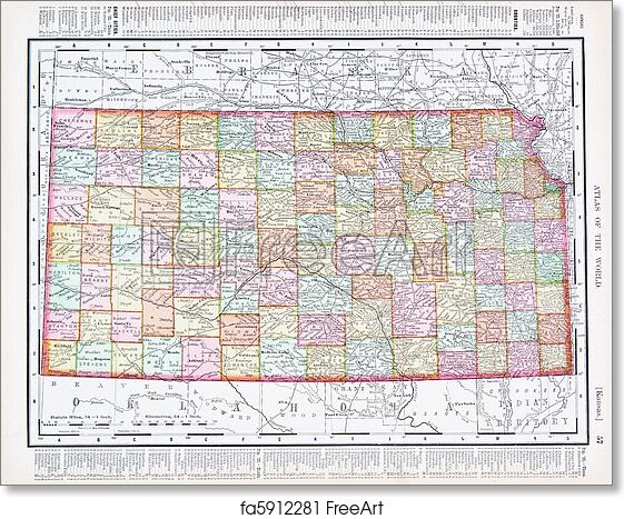 graphic regarding Printable Map of Kansas identified as No cost artwork print of Antique Common Colour Map of Kansas, United states of america