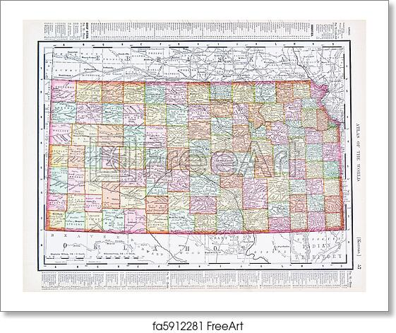 Free art print of Antique Vintage Color Map of Kansas, USA Kansas State Vintage Map on vintage stamp seal, vintage map kansas city, vintage nebraska map with towns, vintage overland park maps,