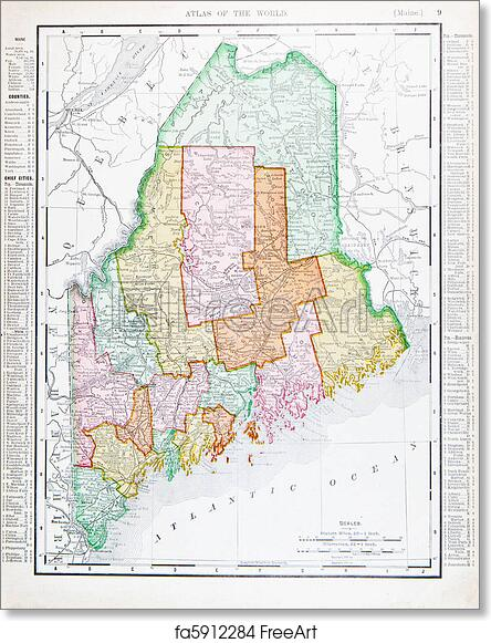 Old Maine Map.Free Art Print Of Antique Vintage Color Map Of Maine Unites States