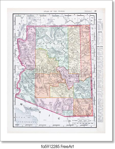 Free Art Print Of Antique Vintage Color Map Of Arizona USA - Usa map vintage
