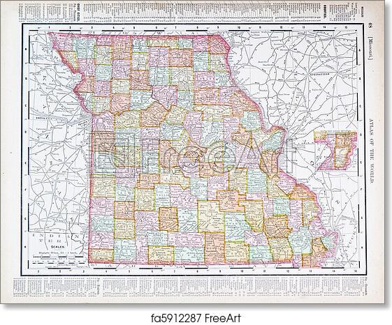 Free art print of Antique Color Map Missouri MO United States