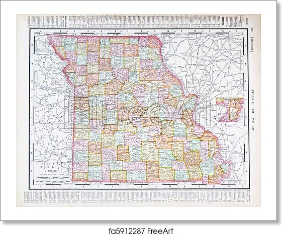 Free Art Print Of Antique Color Map Missouri MO United States - Map of states in usa