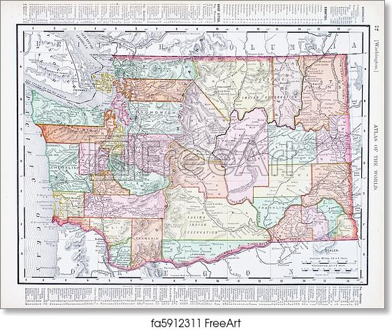Free Art Print Of Antique Vintage Color Map Of Washington State Usa