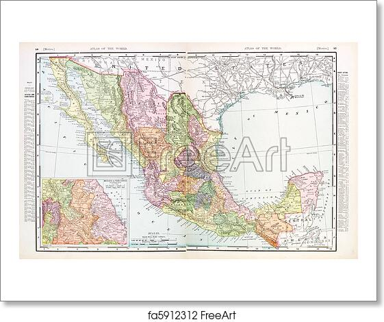 free art print of antique vintage color english map of mexico
