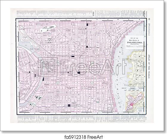 Free art print of City Street Map of Philadelphia, Pennsylvania, USA ...