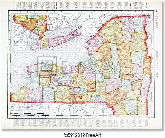 photo relating to Printable Map of New York State referred to as Free of charge artwork print of Antique Traditional Coloration Map of Fresh new York Region, United states