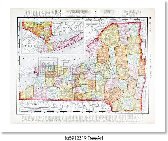 Free Art Print Of Antique Vintage Color Map Of New York State Usa