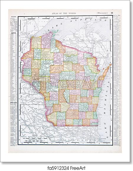 Free art print of Antique Vintage Color Map of Wisconsin, USA ...