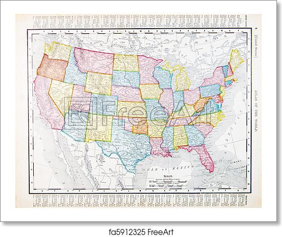 Free art print of Antique Vintage Map United States America, USA