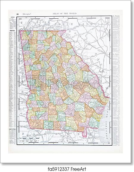 Map Of Georgia United States.Free Art Print Of Antique Color Map Of Georgia Ga United States Usa