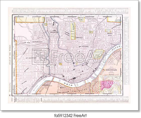 Free Art Print Of Antique Color Street City Map Cincinnati Ohio Usa