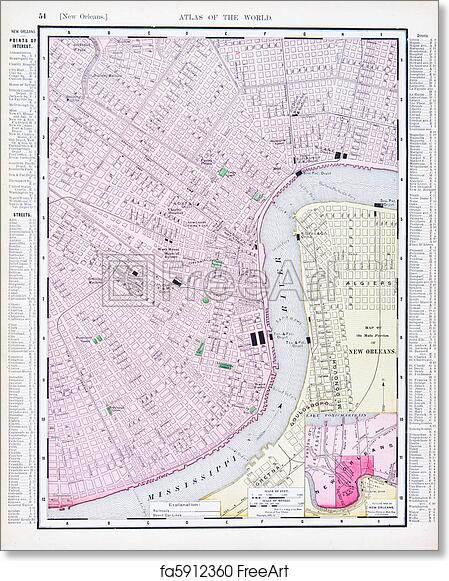 picture relating to Printable Maps of New Orleans referred to as Free of charge artwork print of Thorough Antique Road Map Fresh new Orleans Louisiana