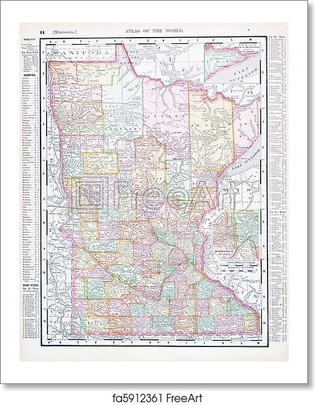 Free Art Print Of Antique Color Map Minnesota MN United States - Minnesota on us map