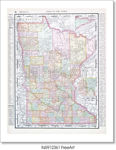 Free art print of Antique Color Map Minnesota MN United States, USA