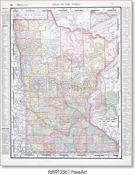 photo regarding Printable Maps of Minnesota called Totally free artwork print of Antique Colour Map Minnesota MN United Suggests, United states