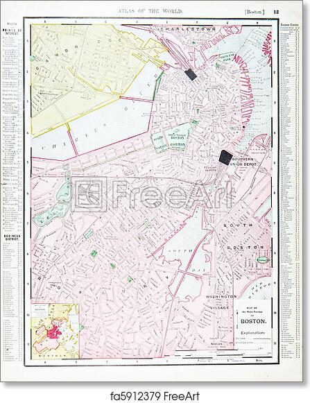 picture about Printable Map of Massachusetts identified as Totally free artwork print of Complete Antique Highway Map Boston, Machusetts