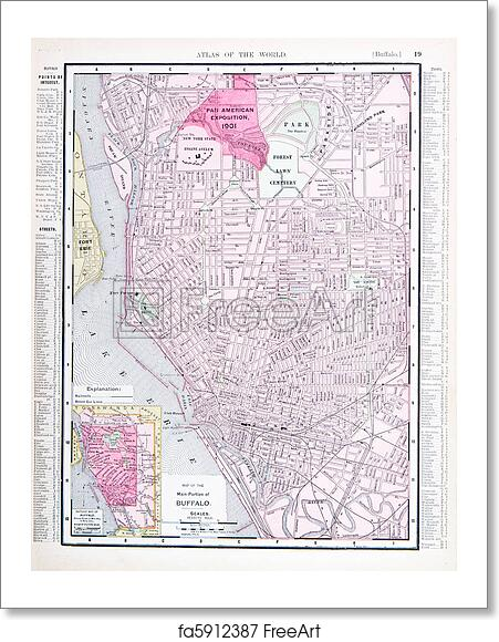 Free Art Print Of Detailed Antique Color Street Map Buffalo New York