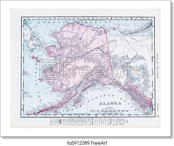 Free art print of Antique Vintage Color Map of Alaska, USA
