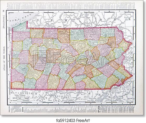 Free Art Print Of Antique Map Pennsylvania Pa United States Usa